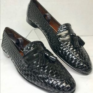 Cole Haan Italy Black Woven Tassel Loafers Sz 12A